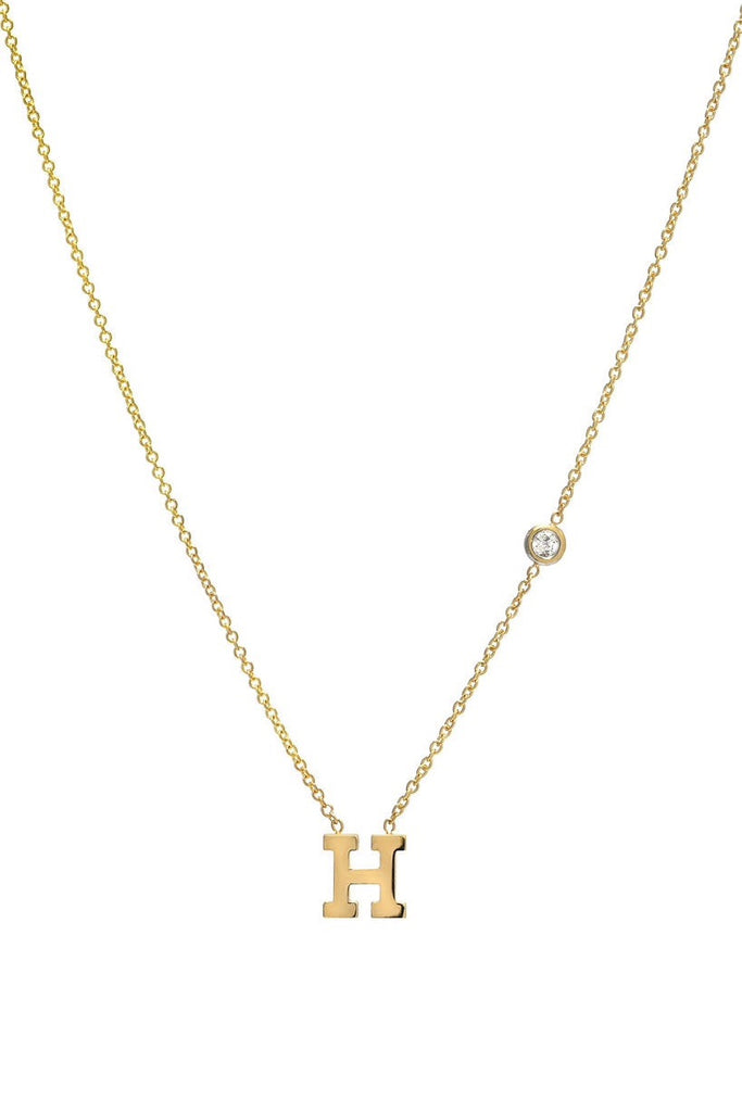 Initial and Bezel Diamond Necklace - Lauren Sigman Collection