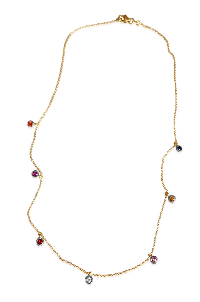"Rainbow Sapphire Confetti Chain/18K/16"" - Lauren Sigman Collection"