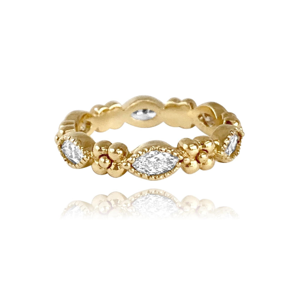 Iris Marquis Band in 18k Gold with Diamonds - Lauren Sigman Collection