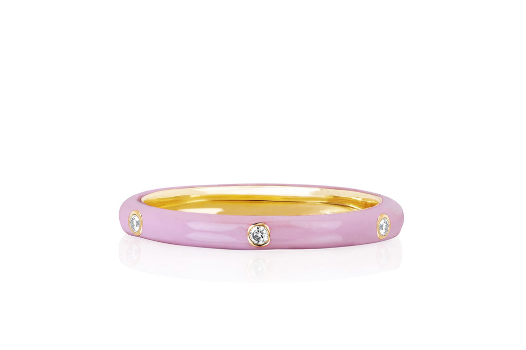 Three Diamond Pink Enamel Ring - Lauren Sigman Collection