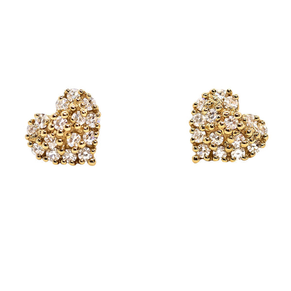 Diamond Puffy Heart Stud Earrings - Lauren Sigman Collection