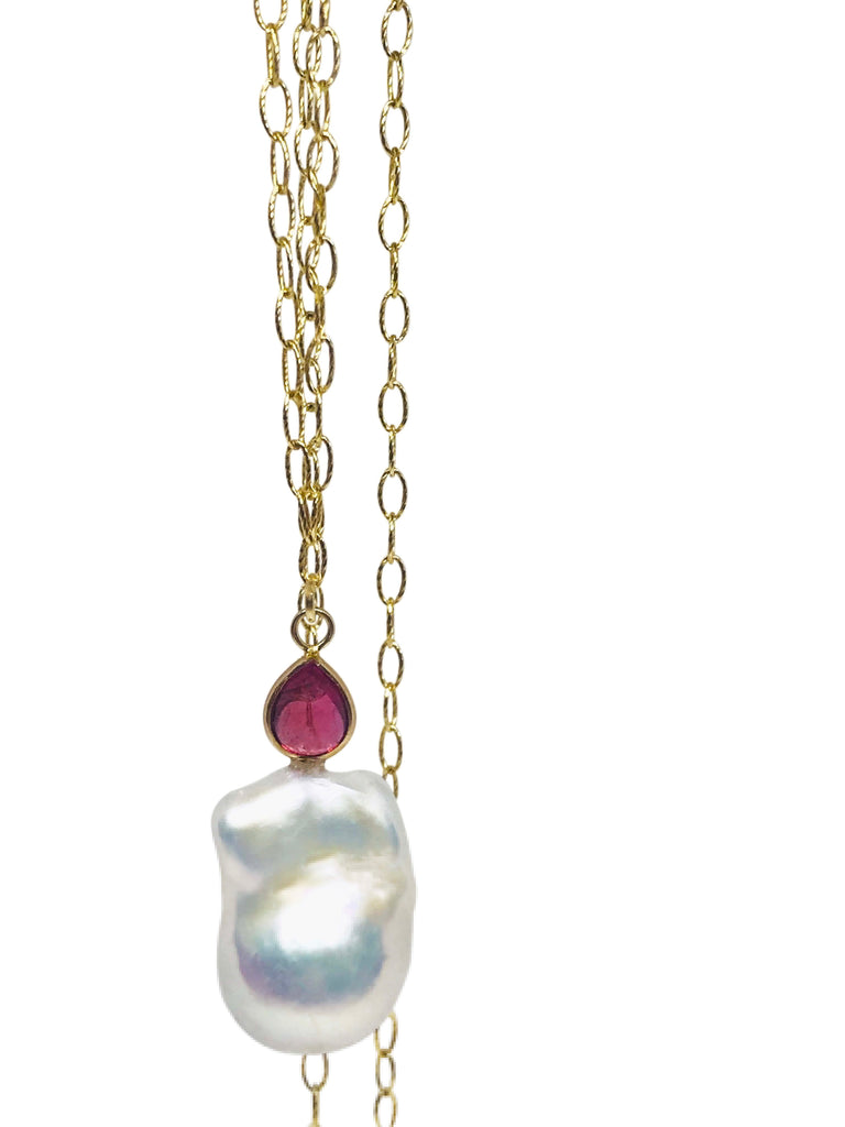 Baroque Pearl and Pink Tourmaline Pendant - Lauren Sigman Collection