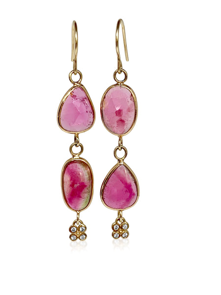 Double pink Tourmaline with diamond flowers - Lauren Sigman Collection