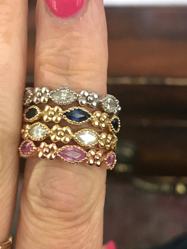 Iris Marquis Band in 18k Gold with Blue Sapphires - Lauren Sigman Collection