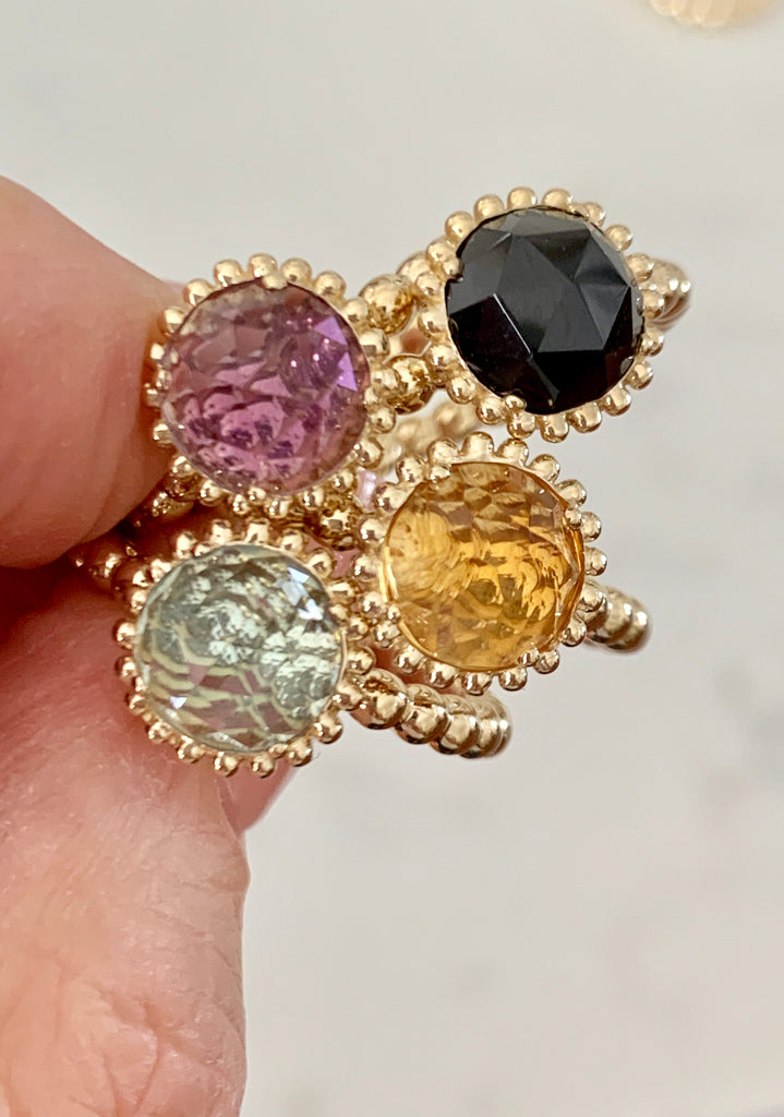 Large Sweet Pea Ring with Black Spinel - Lauren Sigman Collection