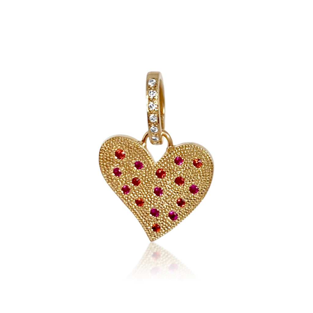 Pink & Orange Sapphire beaded heart/Removable Diamond Hanger - Lauren Sigman Collection