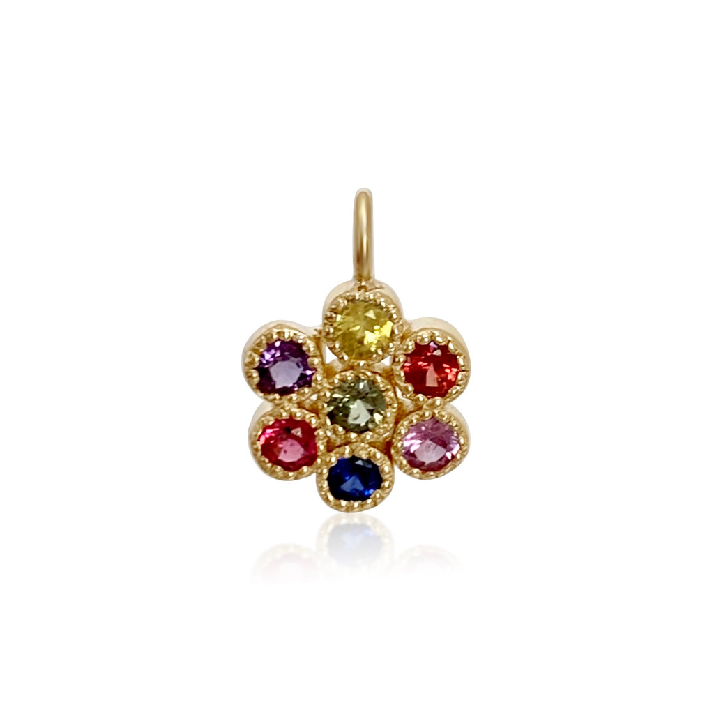 Water Lily Pendant in 18k Gold with Rainbow Sapphires 🌈 - Lauren Sigman Collection