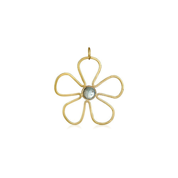Sunflower Gemstone Pendant in Blue Topaz - Lauren Sigman Collection
