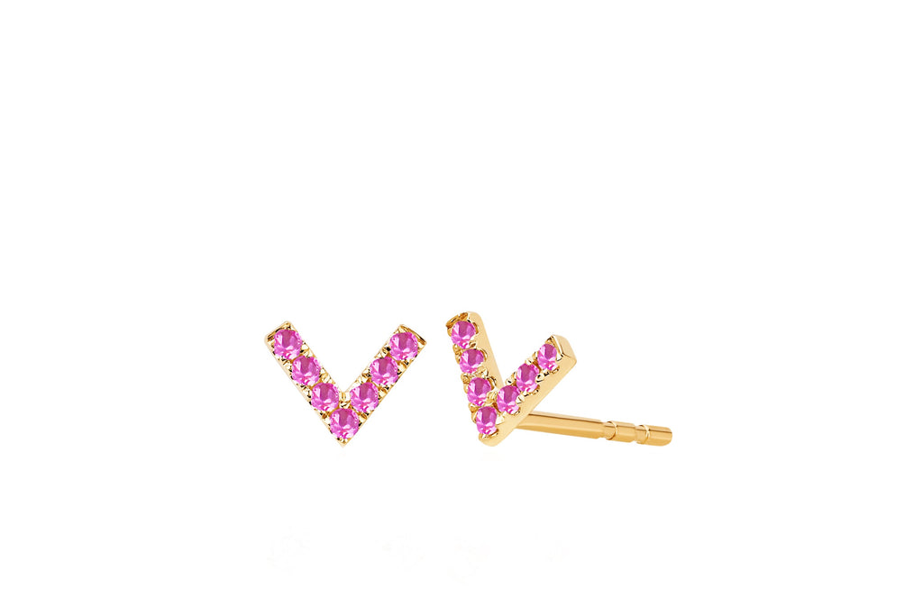Mini Pink Sapphire Chevron Stud Earrings (Single) - Lauren Sigman Collection