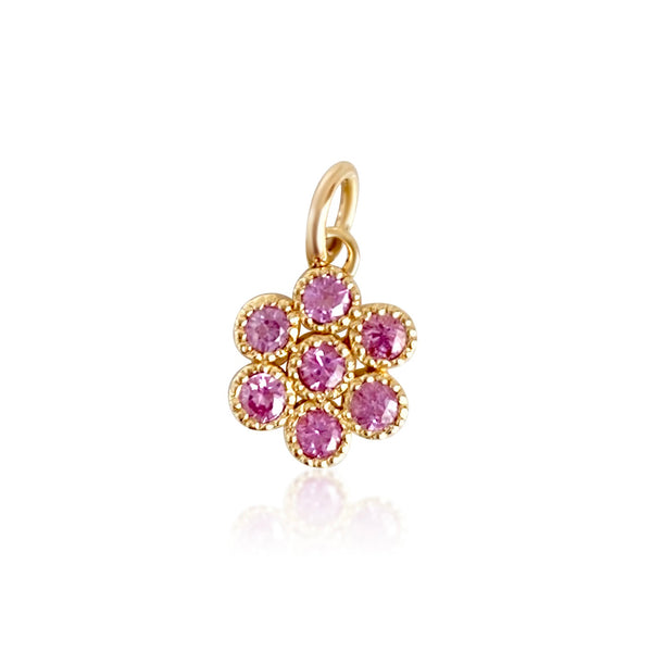 Water Lily Pendant in 18k Gold with Pink Sapphires - Lauren Sigman Collection