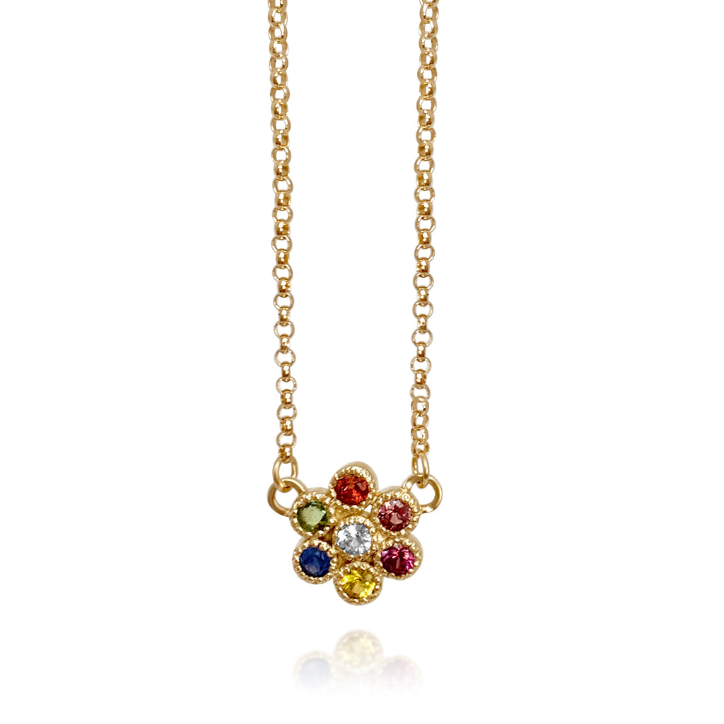Water Lily Rainbow Sapphire Necklace - Lauren Sigman Collection