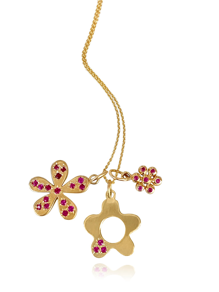 Wildflower with Pink Sapphire Petal - Lauren Sigman Collection
