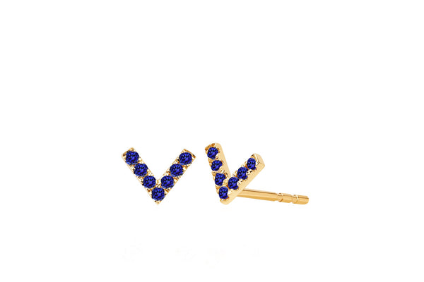 Mini Blue Sapphire Chevron Stud Earrings - Lauren Sigman Collection
