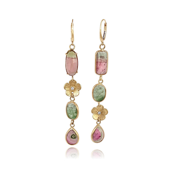Rainbow Tourmaline and Petunia Diamond Earrings - Lauren Sigman Collection