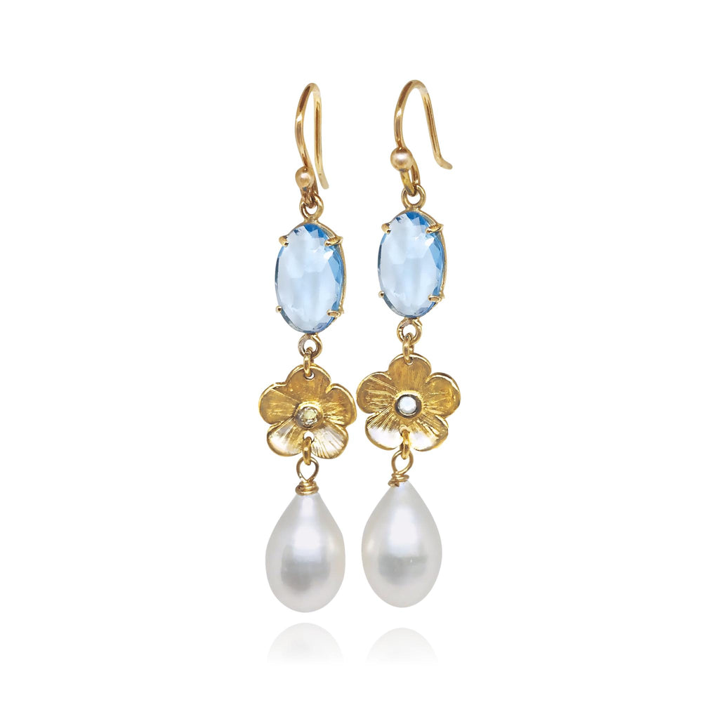 Blue Topaz, Petunia & Pearl Earrings - Lauren Sigman Collection