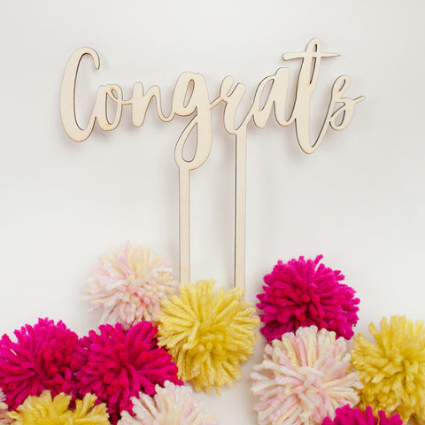 Congrats wood cake topper - www.boobaloo.com