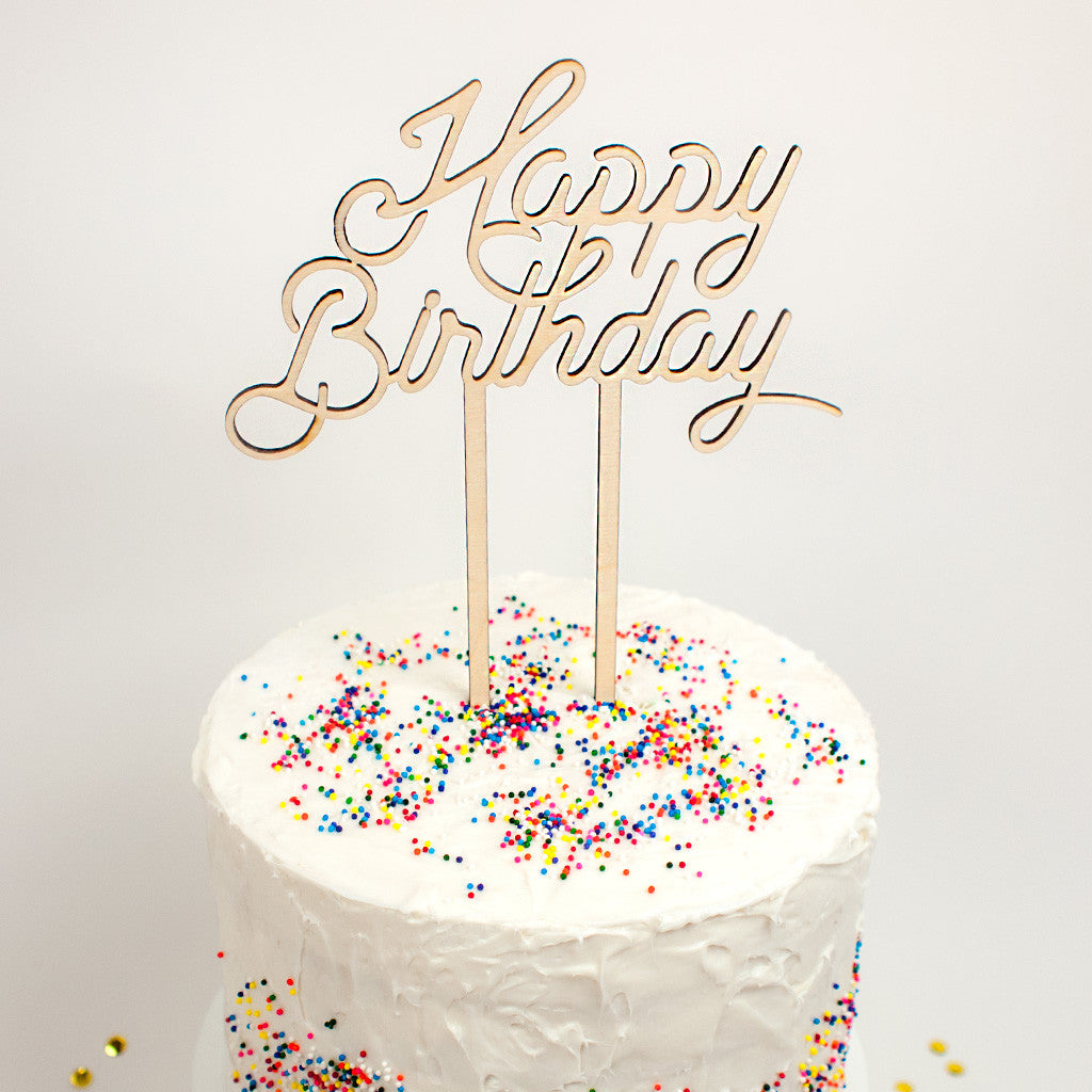 Happy Birthday wood cake topper - www.boobaloo.com