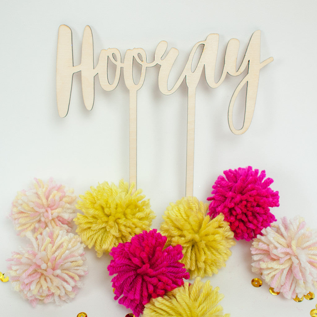 Hooray wood cake topper - www.boobaloo.com