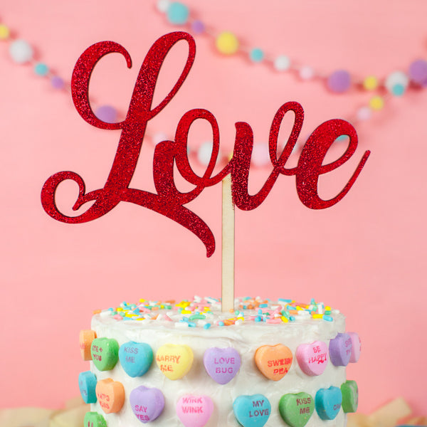 Love Script wood cake topper - www.boobaloo.com