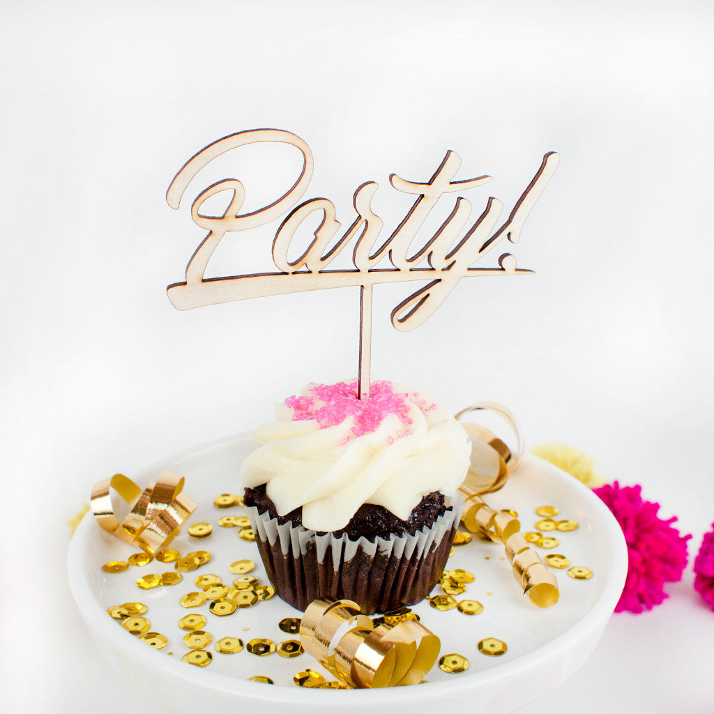 Party wood cupcake topper - www.boobaloo.com
