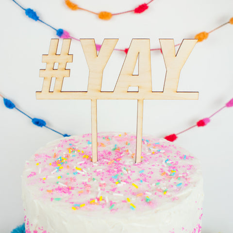 #YAY wood cake topper - www.boobaloo.com