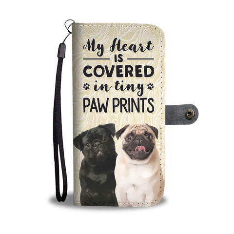 Pug Tiny Paw Prints Heart Wallet Case