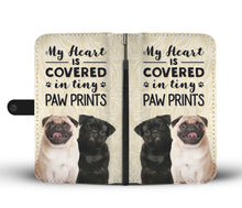 Load image into Gallery viewer, Pug Tiny Paw Prints Heart Wallet Case