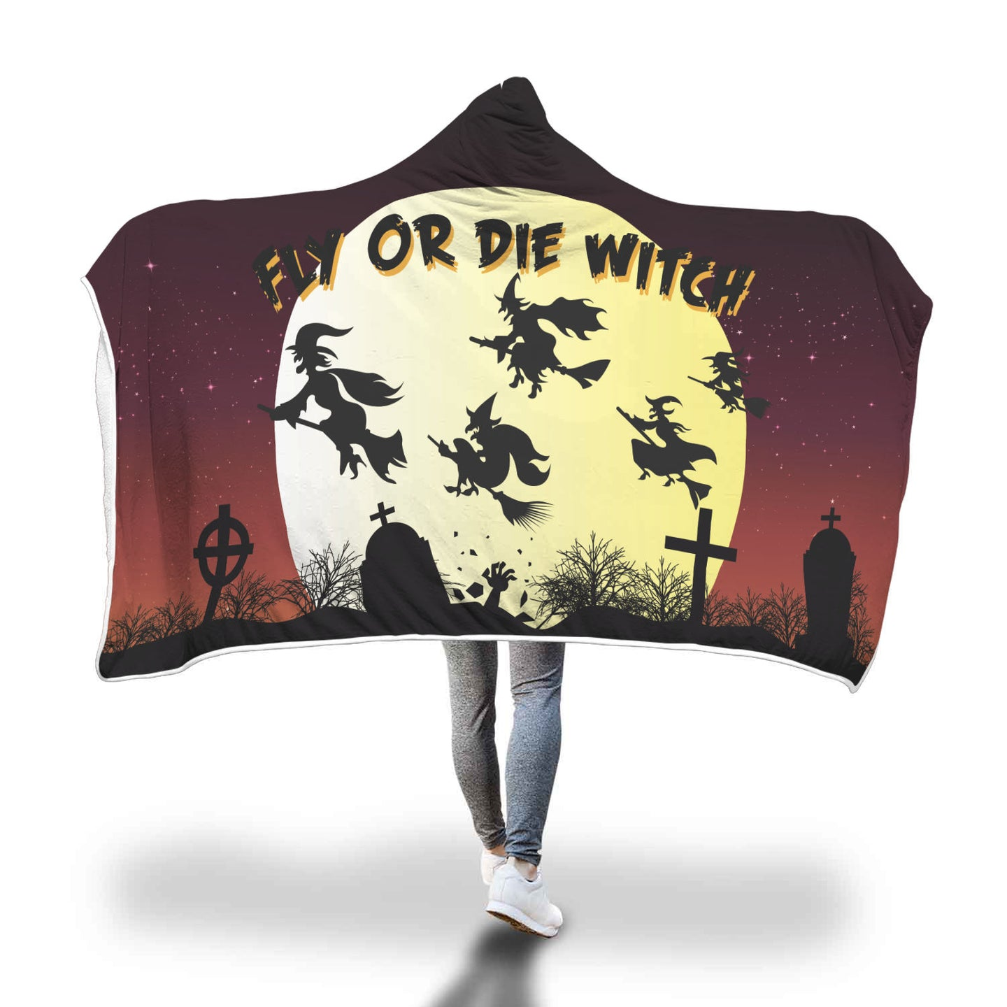 Fly Or Die Witch Hooded Blanket - 40% OFF