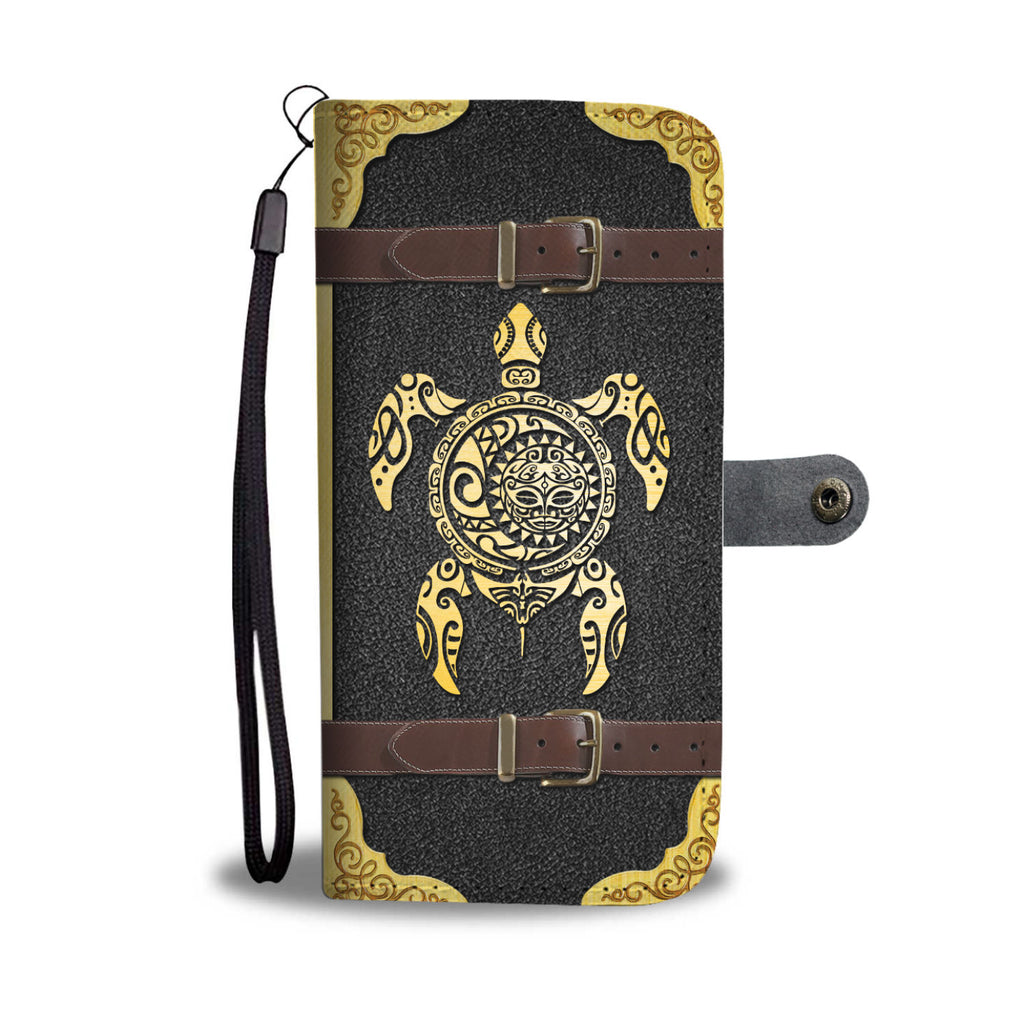 Tribal Sea Turtle Sun Moon Wallet Case