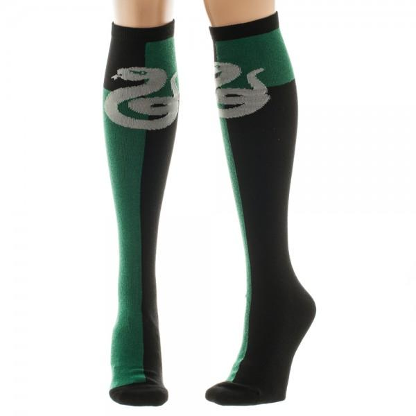 Slytherin Socks, harry potter socks, knee high socks, knee high muggle socks, knee high green and black snake socks, knee high green and black slytherin socks.
