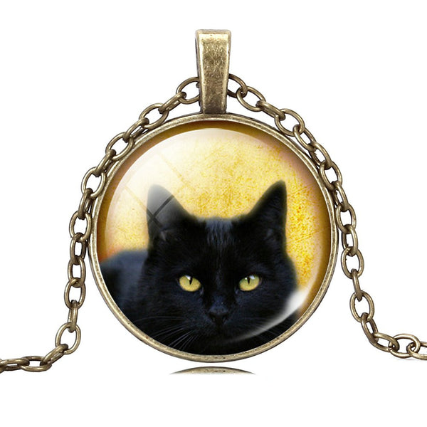 Black Cat Necklace Glass Silver Bronze Chain Picture Vintage Pendant For Women