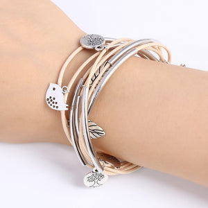 Charm Bangle Bracelet with Silver Birds and Leaves Pendants