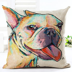 Cute Dog Artsy Throw Pillow Cover