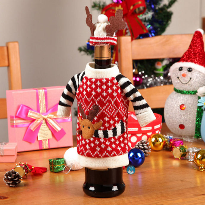 Christmas Hat and Sweater Wine Bottle Cover - BUY 1 GET 1 FREE