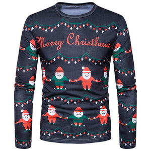 Men's T-shirts Ugly Sweater Syle Long Sleeve Male Slim Tops