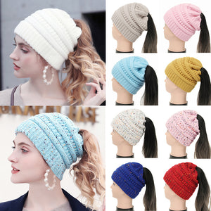 Beanie Ponytail Winter Hats For Women