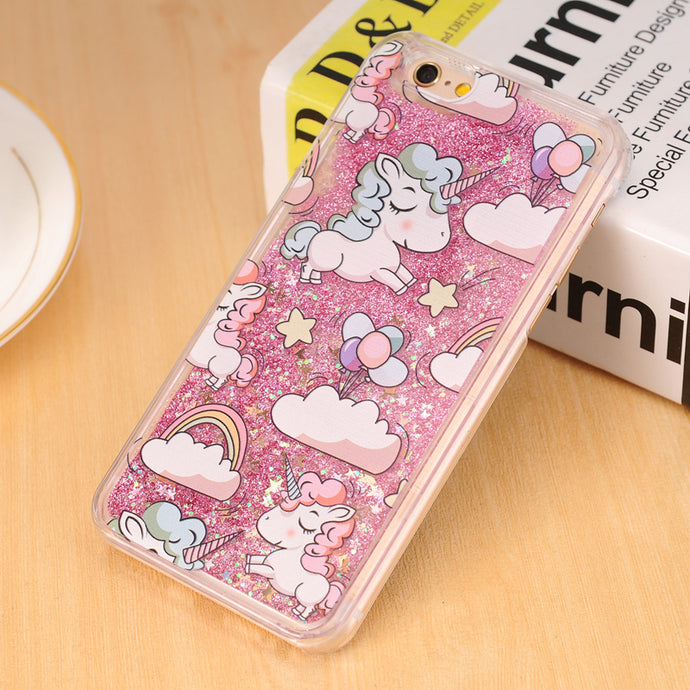 Unicorn Dynamic Liquid Glitter Phone Case For iPhone for iPhone 5 5s 5c 6 6s 7 Plus