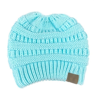 Beanie with Ponytail Hole - Ships Globally