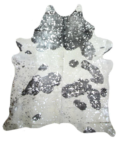 Metallic Silver Natural Cowhide Rug - Extra Large Metallic Silver Splash