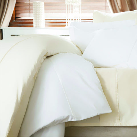 600 Thread Count Sateen Weave Cotton Bed Linen - Ivory or White