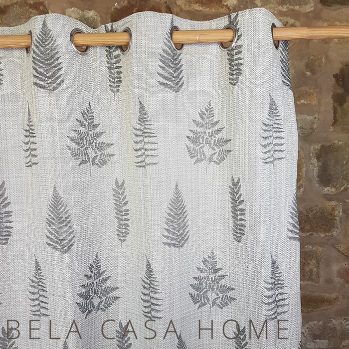 Ancona Silver Grey Fern curtains