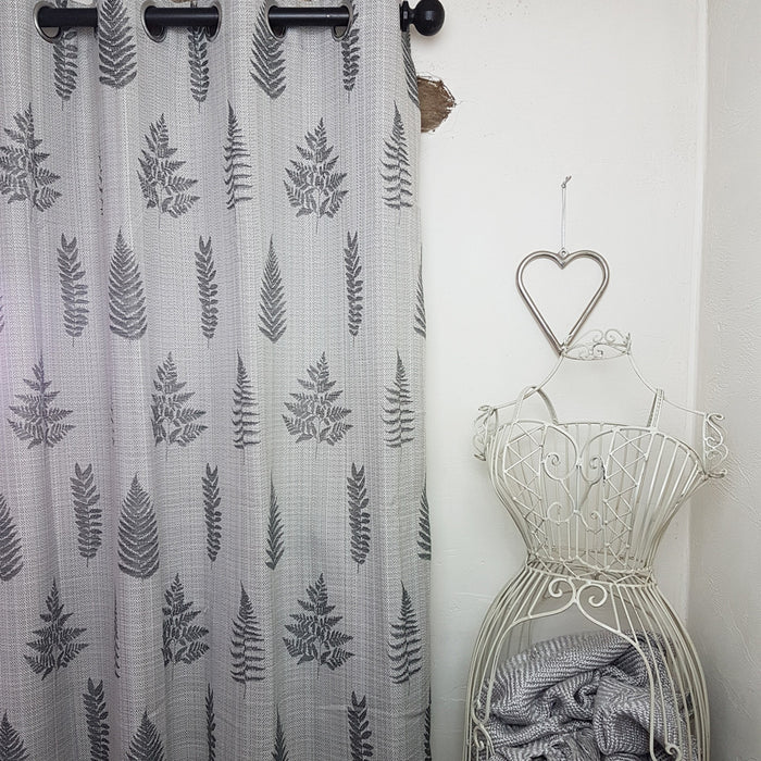 Ancona Fern Leaf Grey/ Charcoal Eyelet Lined Ready-made Curtains
