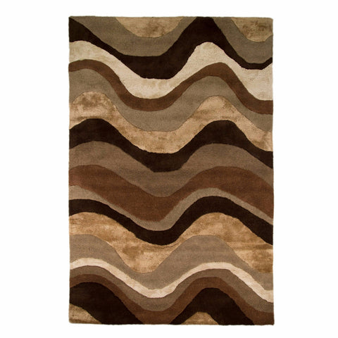 Bela Casa Home Saria Brown & Taupe Wave Design Wool Rug