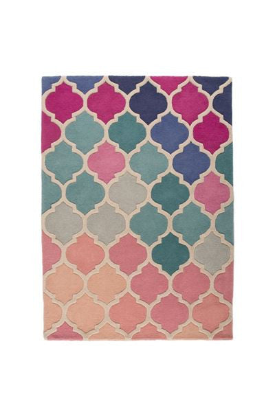 Bela Casa Home Illusion Rosella Pink and Blue Wool Rug