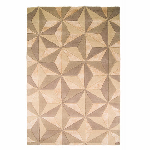 Bela Casa Home Scorpio Natural Geometric Cube Design Hand Carved Rug