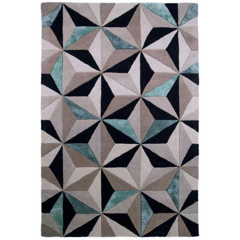 Bela Casa Home Scorpio Grey & Teal Geometric Cube Design Hand Carved Rug