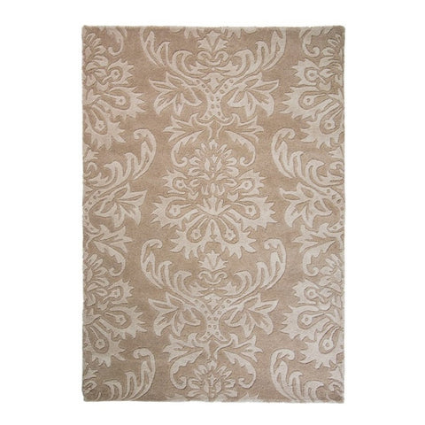 Bela Casa Home Damask Beige Hand Carved 100% Wool Rug