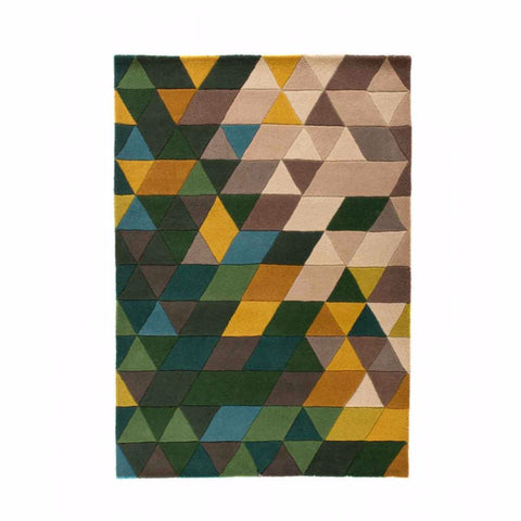 Bela Casa Home Illusion Prism Green/Multi-coloured 100% Wool Rug