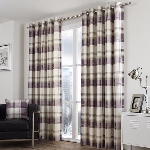 Clitheroe Check Plum 100% Cotton Curtains