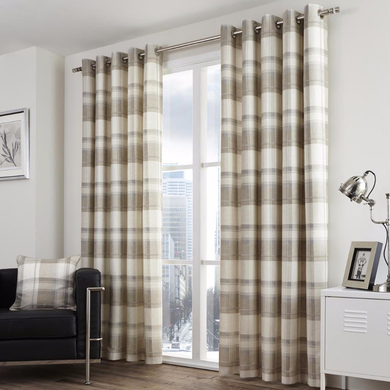 Clitheroe Check Natural 100% Cotton Curtains